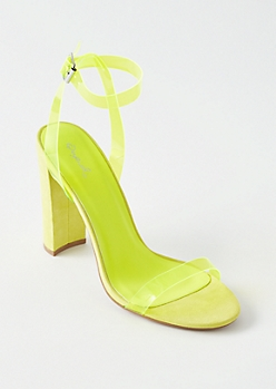 Neon Yellow Clear Ankle Strap Heels