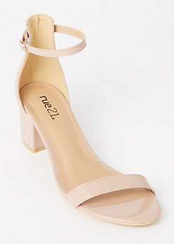 Nude Ankle Strap Low Heels
