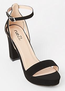 Black Matte Single Strap Platform Heels