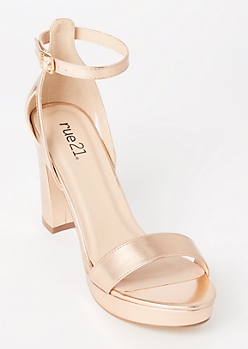 Rose Gold Single Strap Platform Heels