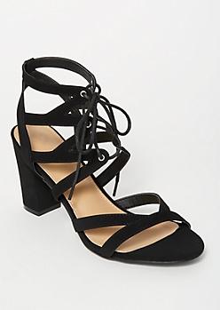 Black Cutout Lace Up Heels