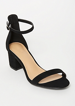 Black Ankle Strap Low Heels