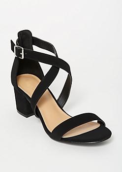 Black Crisscross Strappy Low Heels