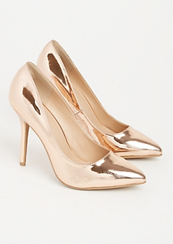 Rose Gold Metallic Pointed Toe Stilettos