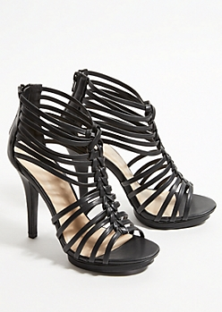 Black Braided Peep Toe Stiletto Heels