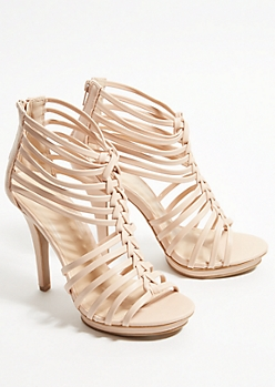 Nude Braided Peep Toe Stiletto Heels