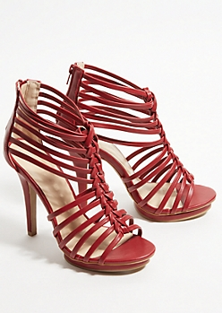 Red Braided Peep Toe Stiletto Heels