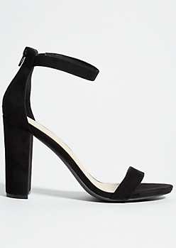 Black Ankle Strap Open Toe Block Heels