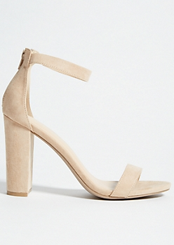 Nude Ankle Strap Open Toe Block Heels