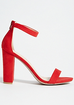 Red Ankle Strap Open Toe Block Heels