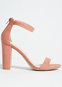 Pink Ankle Strap Open Toe Block Heels