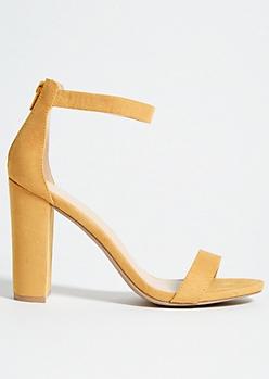 Mustard Ankle Strap Open Toe Block Heels
