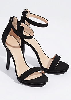 Black Faux Suede Ankle Strap Stiletto Heels