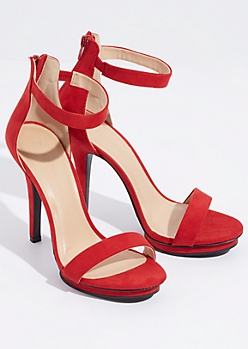 Red Faux Suede Ankle Strap Stiletto Heels