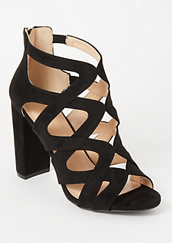 Black Lattice Cutout Block Heels