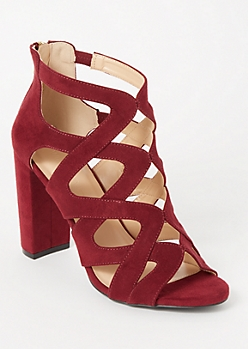 Burgundy Lattice Cutout Block Heels