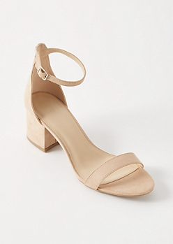 Nude Buckled Ankle Low Heels