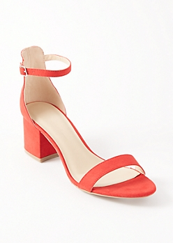 Red Buckled Ankle Low Heels