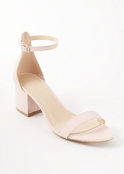 Pink Buckled Ankle Low Heels