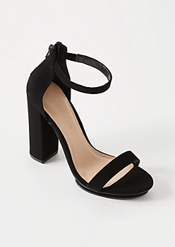 Black Zip Back Platform Heels