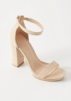 Nude Zip Back Platform Heels