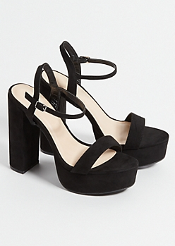 Black Faux Suede Ankle Strap Chunky Platform Heels