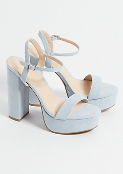 Blue Faux Suede Ankle Strap Chunky Platform Heels