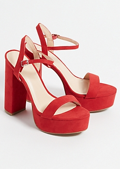 Red Faux Suede Ankle Strap Chunky Platform Heels