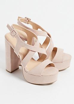 Pink Crossing Strap Faux Suede Platform Heels
