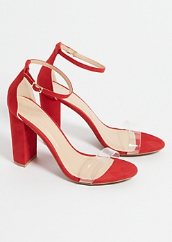Red Clear Strap Block Heels