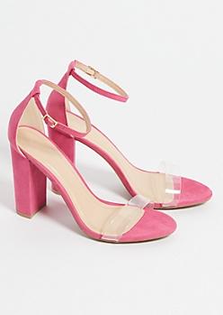 Fuchsia Clear Strap Block Heels
