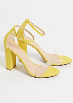 Yellow Clear Strap Block Heels