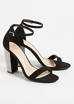 Black Ankle Strap Gemstone Heels