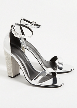 Metallic Silver Ankle Strap Gemstone Heels
