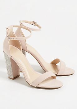 Nude Ankle Strap Gemstone Heels