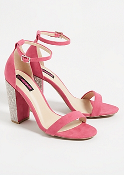 Fuchsia Ankle Strap Gemstone Heels