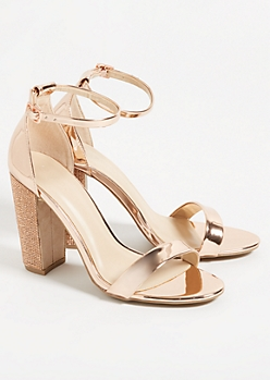 Metallic Rose Gold Ankle Strap Gemstone Heels