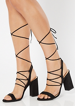 Black Caged Lace Up Ankle Wrap Heels