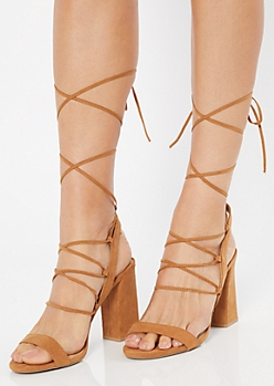 Cognac Caged Lace Up Ankle Wrap Heels