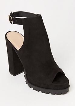 Black Lug Platform Heels