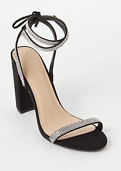 Black Gemstone Ankle Wrap Heels