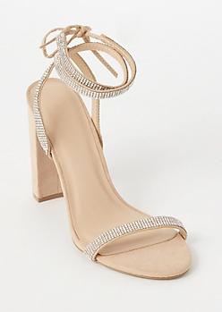 Nude Gemstone Ankle Wrap Heels