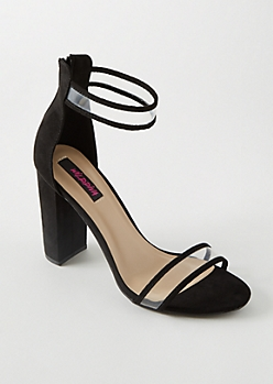 Black Faux Suede Clear Strap Heels