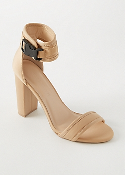 Nude Nylon Ankle Buckle Heels