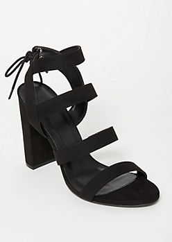 Black Strappy Tie Back Heels