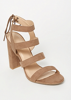 Taupe Strappy Tie Back Heels