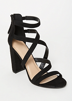 Black Crisscross Strappy Heels