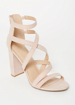 Light Pink Crisscross Strappy Heels