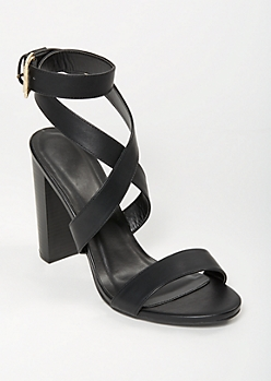 Black Crisscross Buckled Heels
