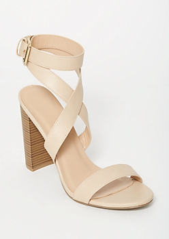 Tan Crisscross Buckled Heels